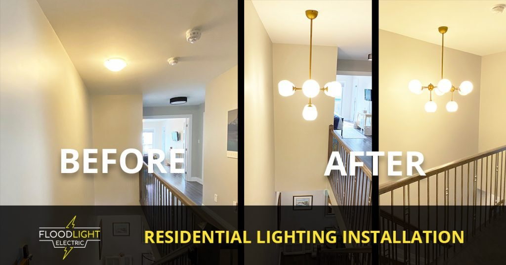 before and after light installation